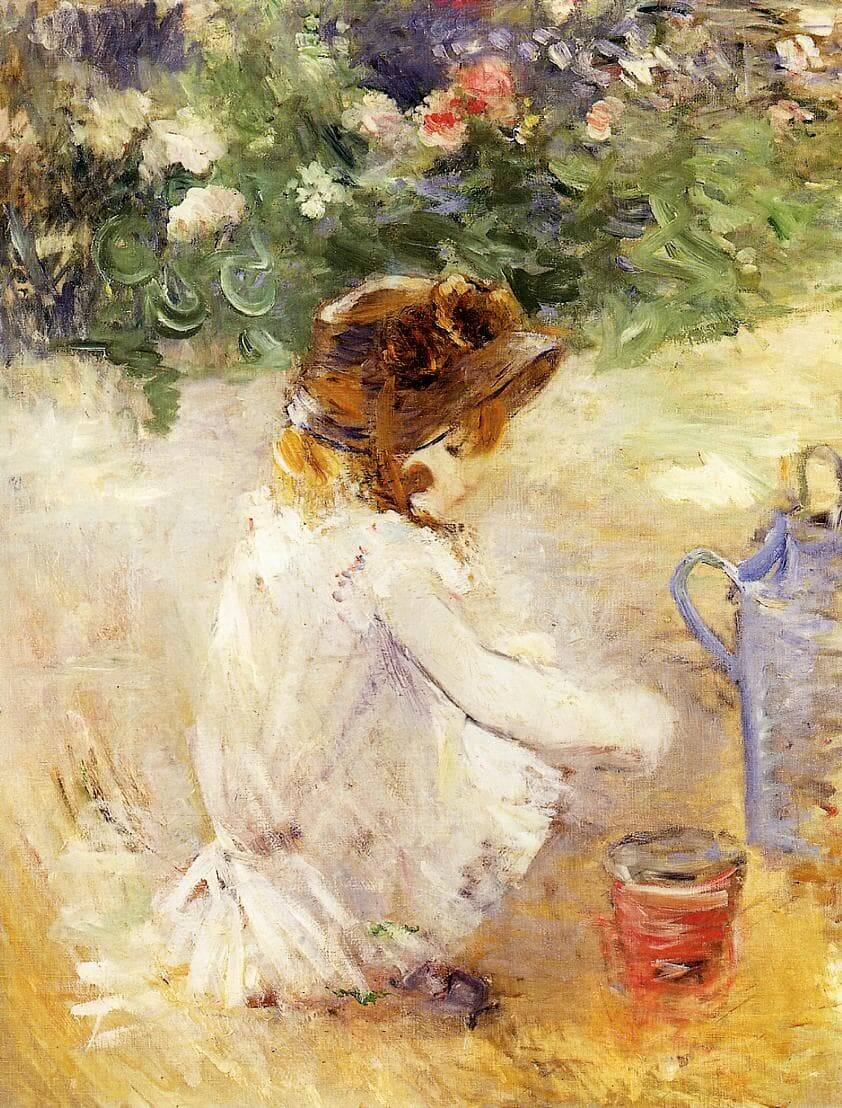"""""""Playing in the Sand"""" por Berthe Morisot"""